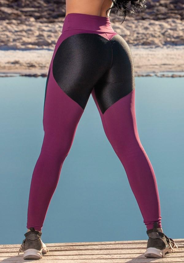 Calça legging poliamida vinho e preta texturizada