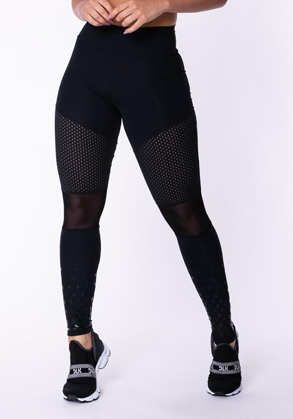 Calça legging poliamidda preta com tela e silk
