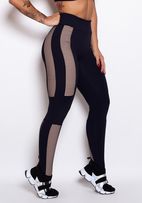Calça legging preta 3d nude