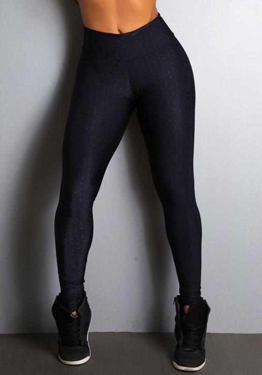 Calça legging preta cirrê alto relevo