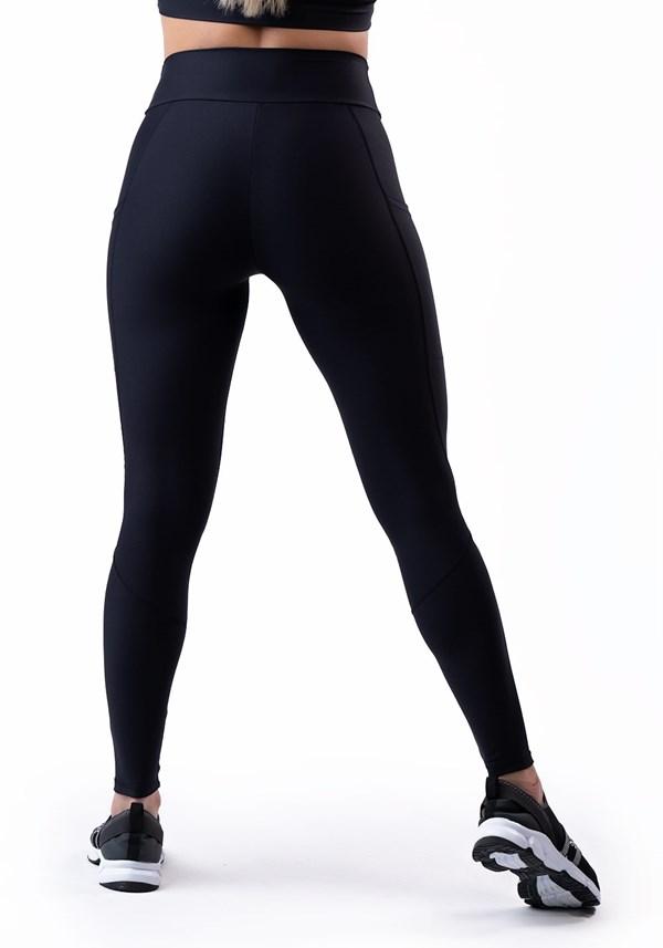 Calça legging preta com bolso básica