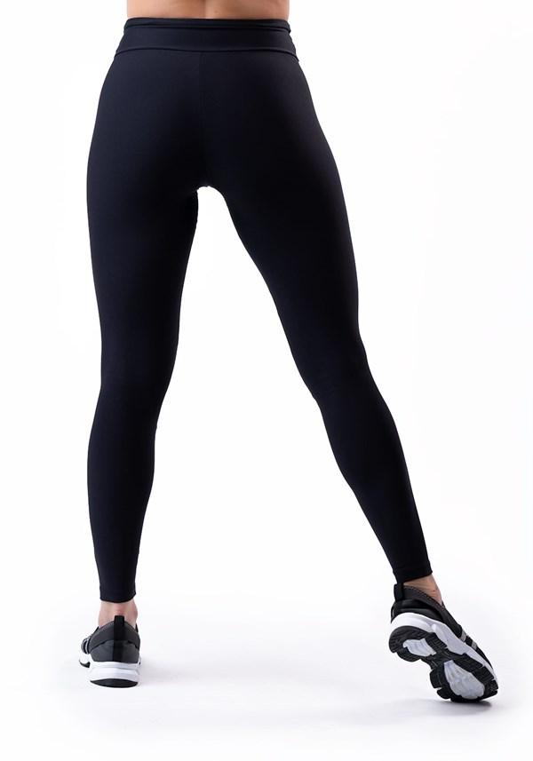 Calça legging preta com cadarço básica