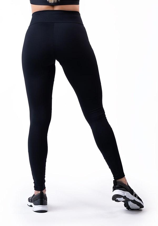 Calça legging preta com detalhes em tule