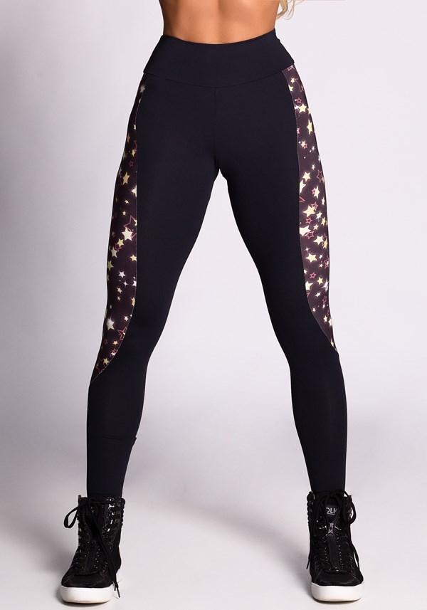 Calça legging preta com estampa stars