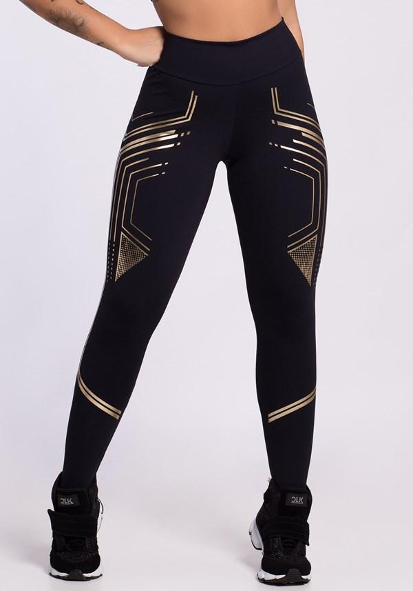 Calça legging preta com silk dourado