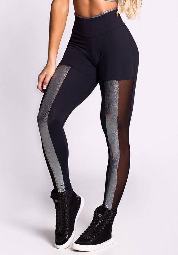 Calça legging preta com tule e foil