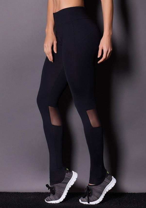 Calça legging preta com tule e silk prata