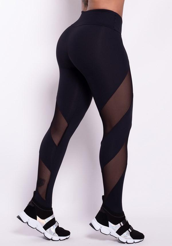 Calça legging preta detalhe tule diagonal