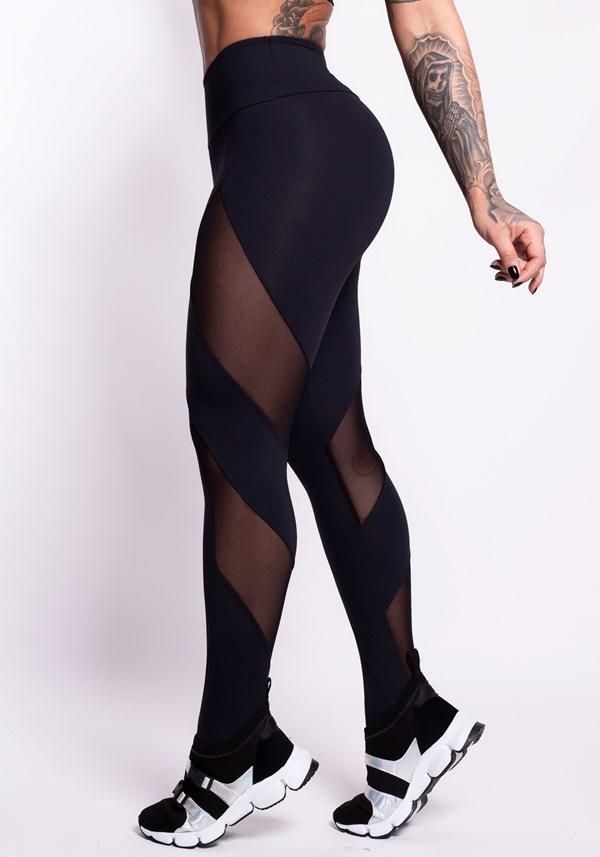 Produto Calça legging preta detalhe tule diagonal