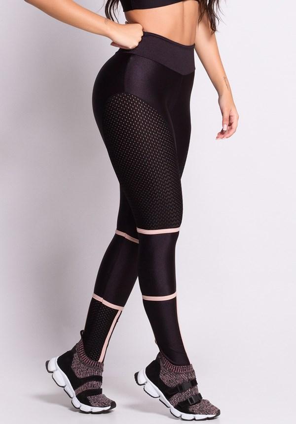 Calça legging preta e nude com tela