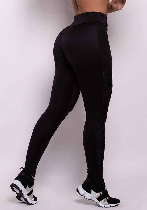 Calça legging preta metal com detalhes texturizado stars