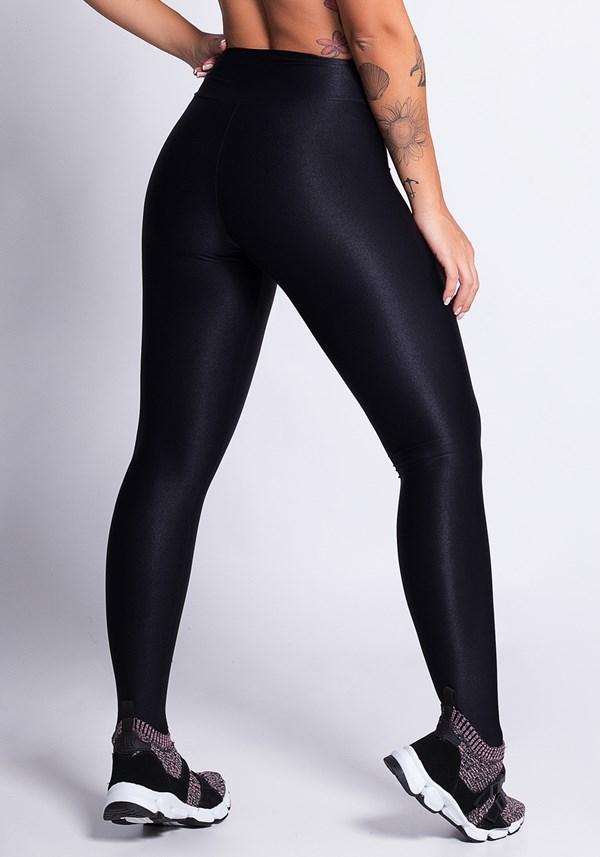 Calça legging preta poliamida canelada shine