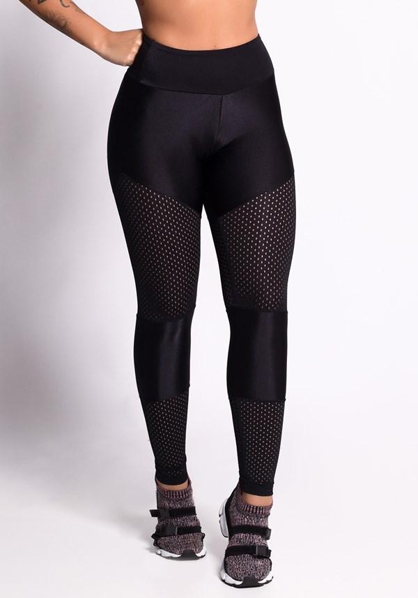 Calça legging preta shine com  tela