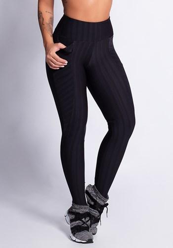 Calça legging preta shine stripes