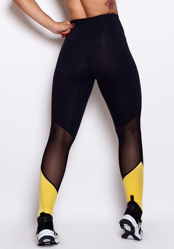 Calça legging preta tex yellow
