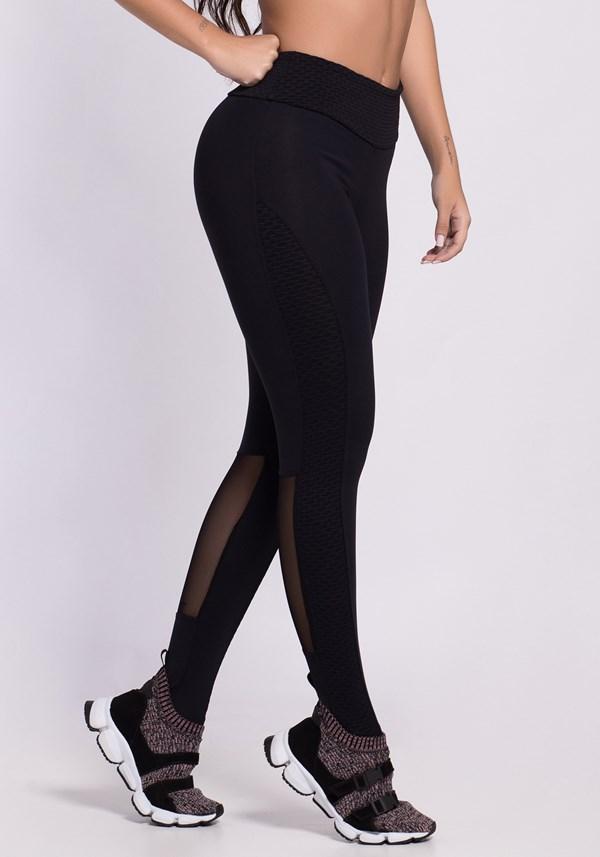 Calça legging preta texturizada com tule