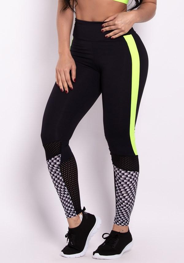 Calça legging print and neon elastic