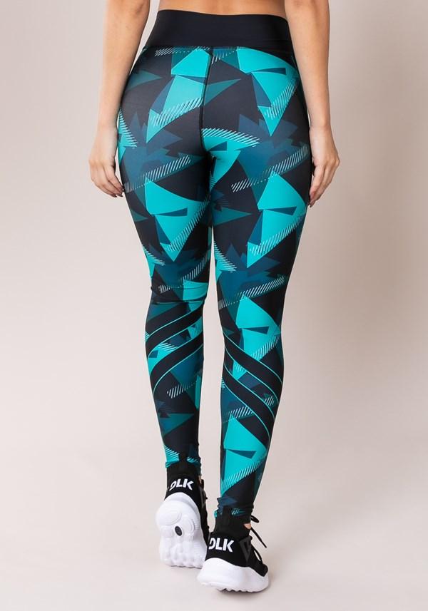 Calça legging printed azul com preto