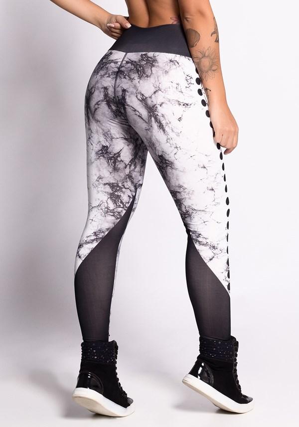 Calça legging printed black & white