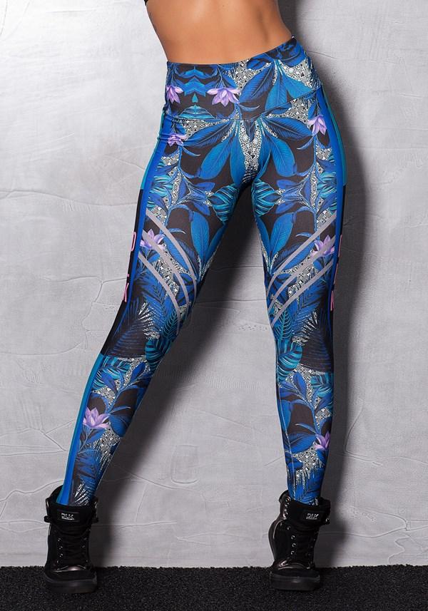 Calça legging printed blue flowers
