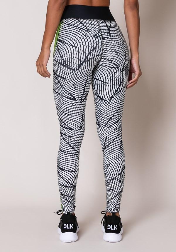 Calça legging printed cinza com cadarço