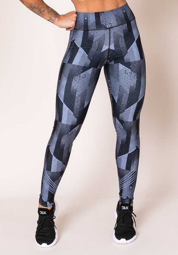 Calça legging printed cinza e preto