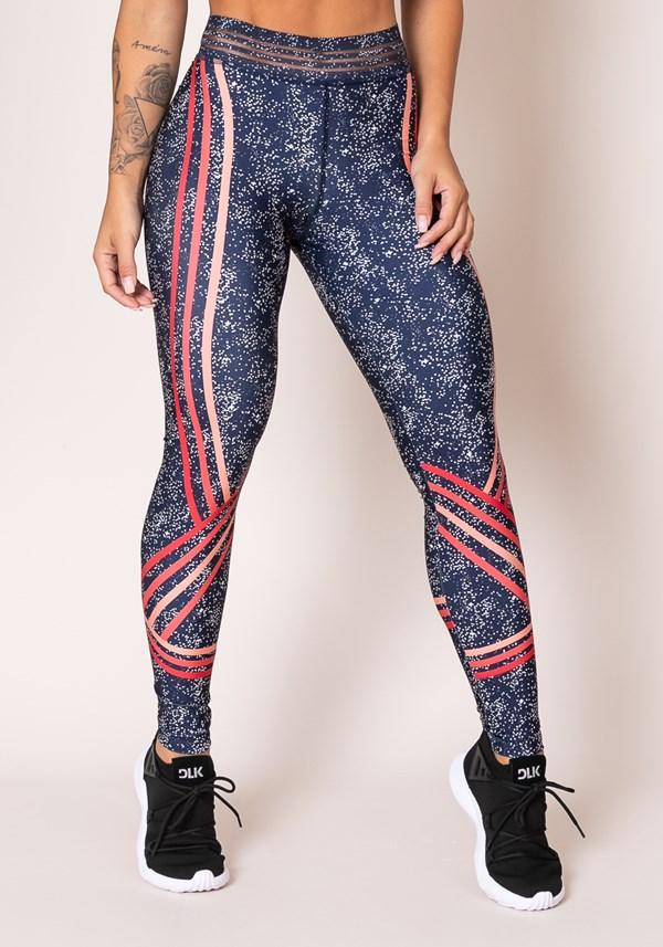 Calça legging printed com detalhe lateral granulado