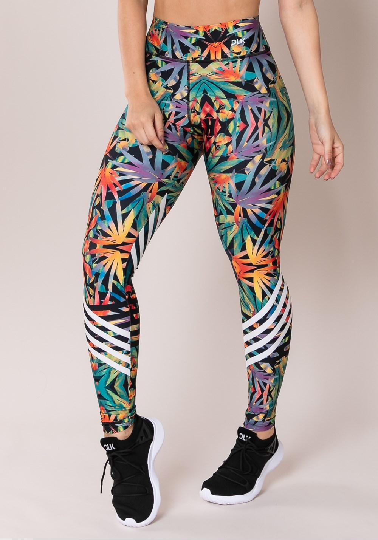 Calça legging printed folhagem colorida
