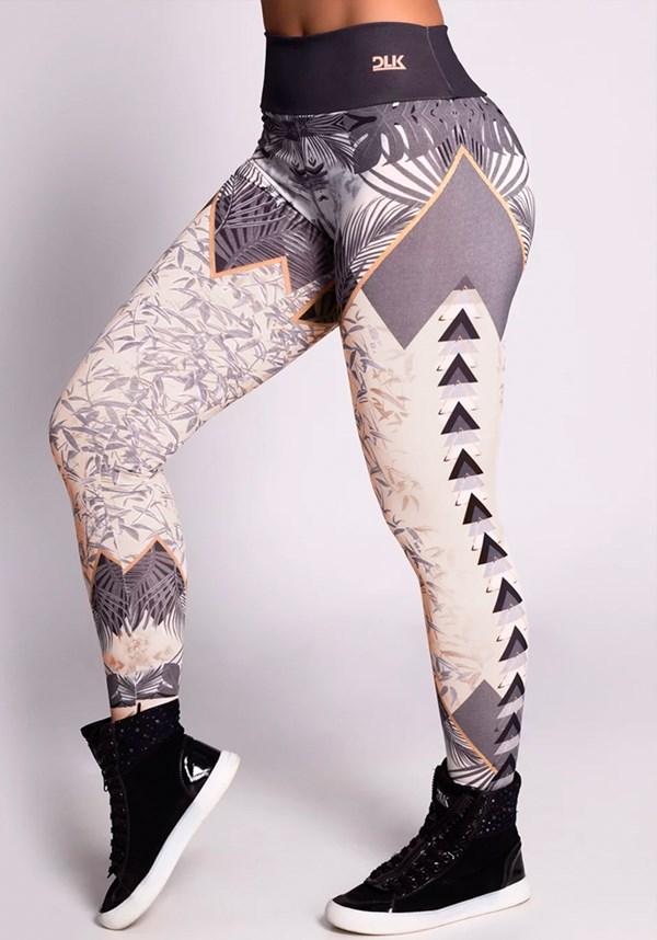 Calça legging printed grey leaves