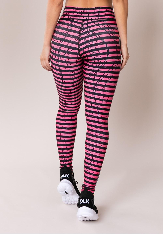 Calça legging printed listras coloridas