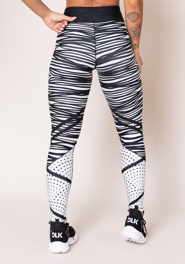 Calça legging printed preto e branco