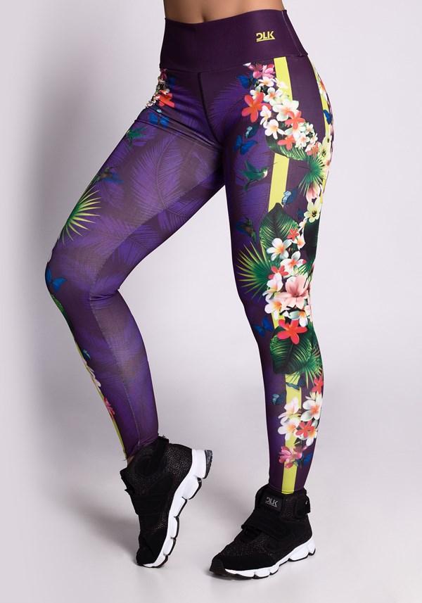 Calça legging printed purple flower