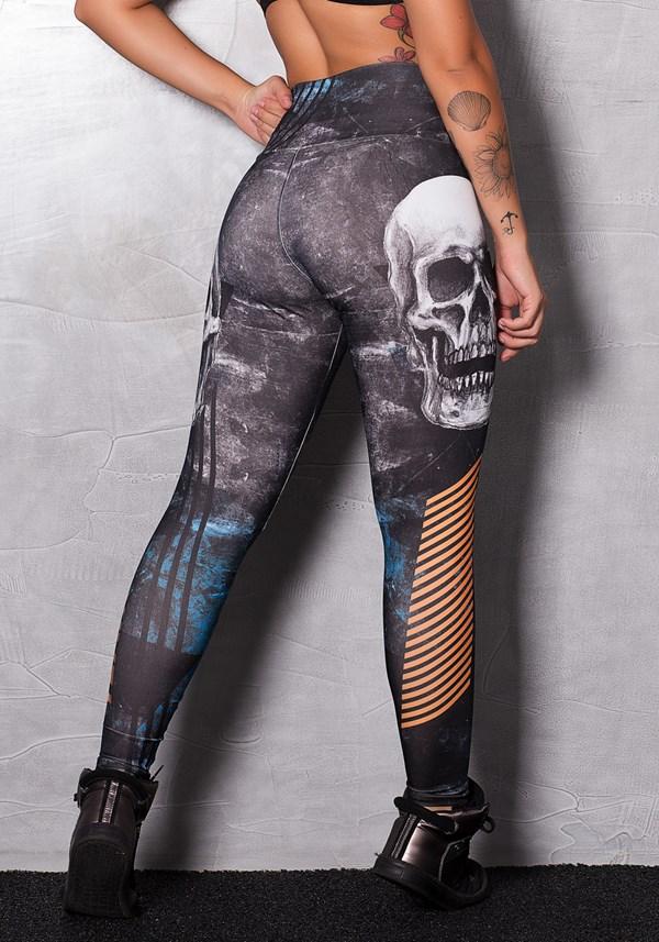 Calça legging printed stripes skull