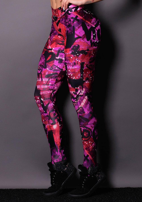Calça legging purple cirrê estampada