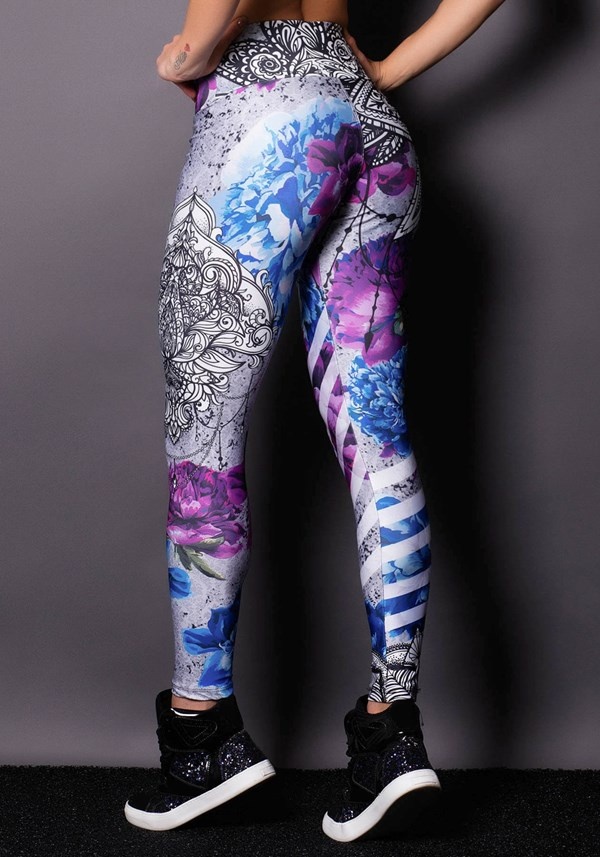 Calça legging purple flowers