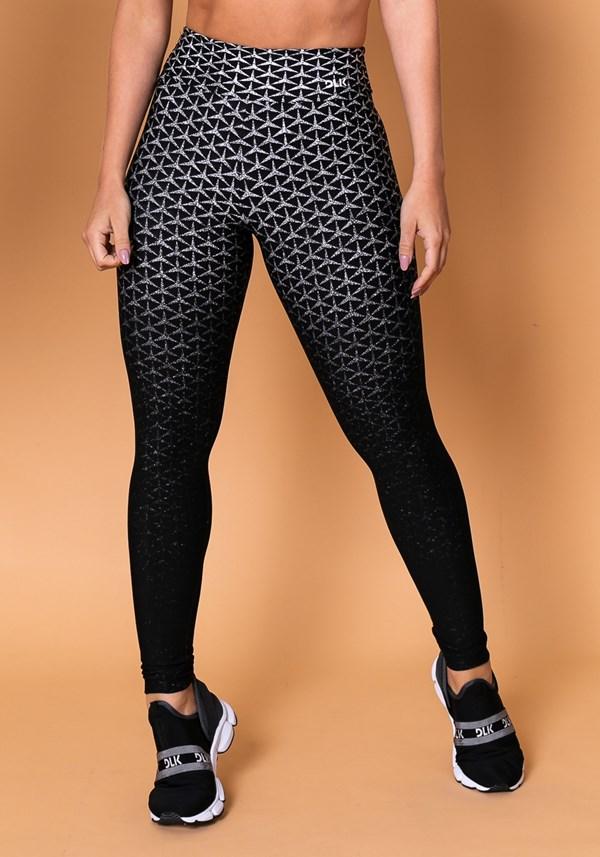 Calça legging reverse em jacquard preta com estrela branca
