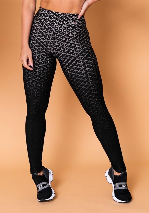 Calça legging reverse em jacquard preta com estrela rosé