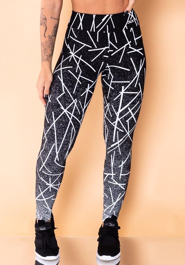 Calça legging reverse jacquard preta com linhas brancas