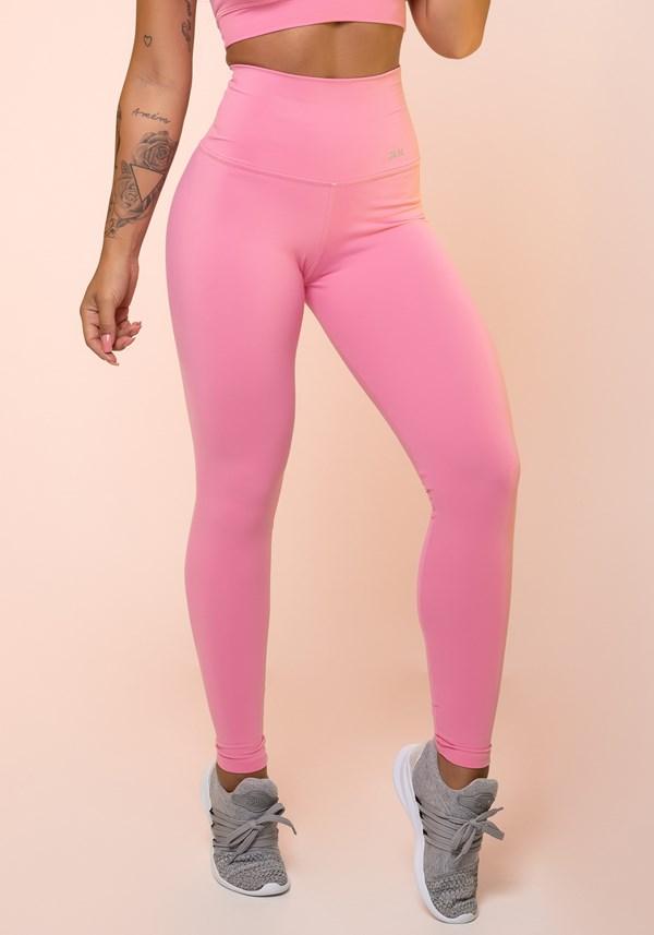 Calça legging rosa chiclete cintura alta básica