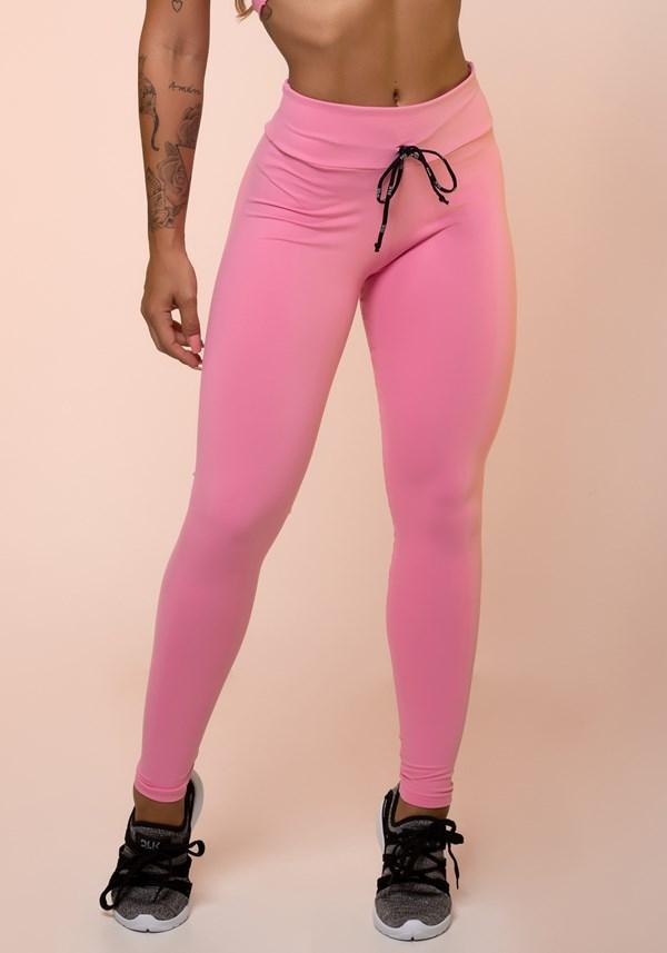 Calça legging rosa chiclete com cadarço básica