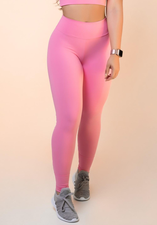 Calça legging rosa chiclete com recortes levanta bumbum básica