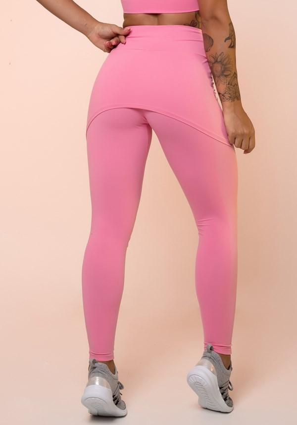Calça legging rosa chiclete com tapa bumbum básica