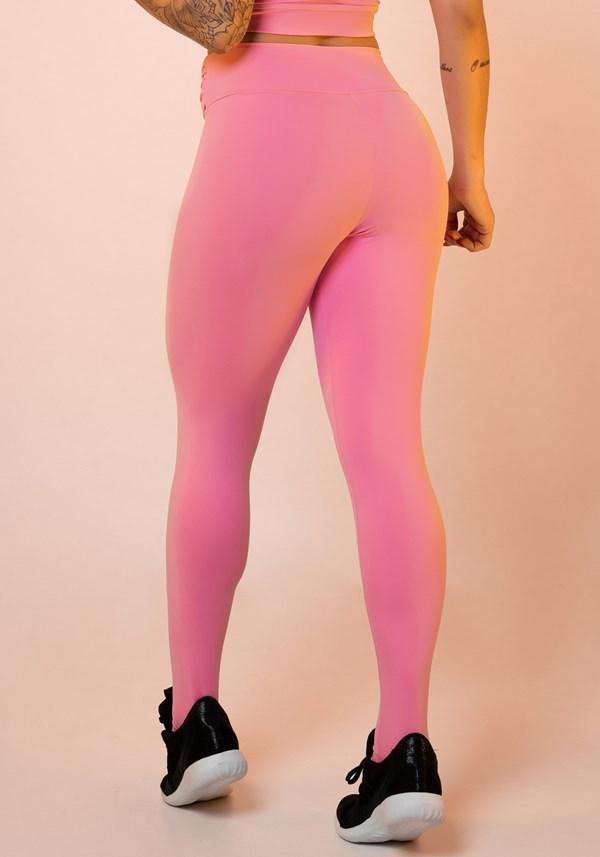 Calça legging rosa chiclete nó frontal básica
