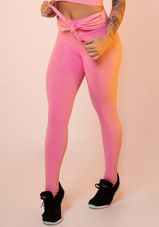 3f0828382 Calça legging rosa chiclete nó frontal básica - DlkModas