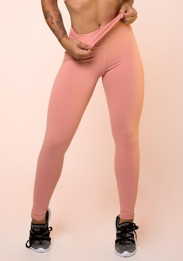 Calça legging rosê cintura alta básica