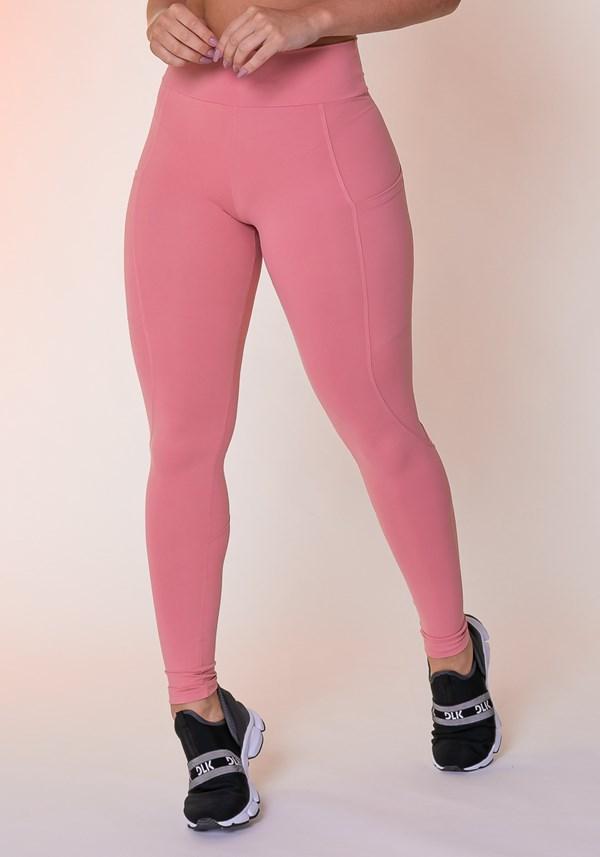 Calça legging rosê com bolso básica