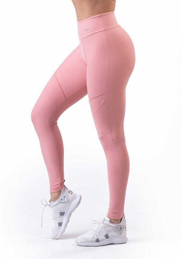 Calça legging rosê com recortes básica