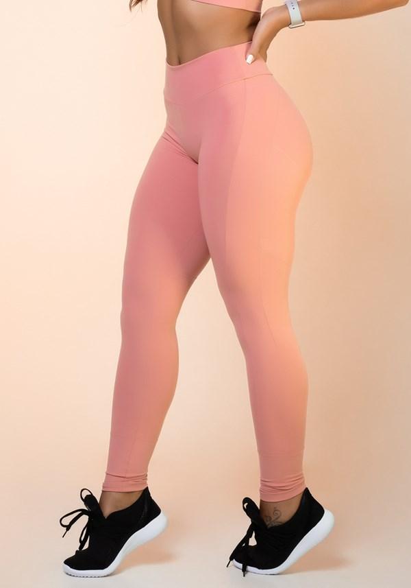 Calça legging rosê com recortes levanta bumbum básica
