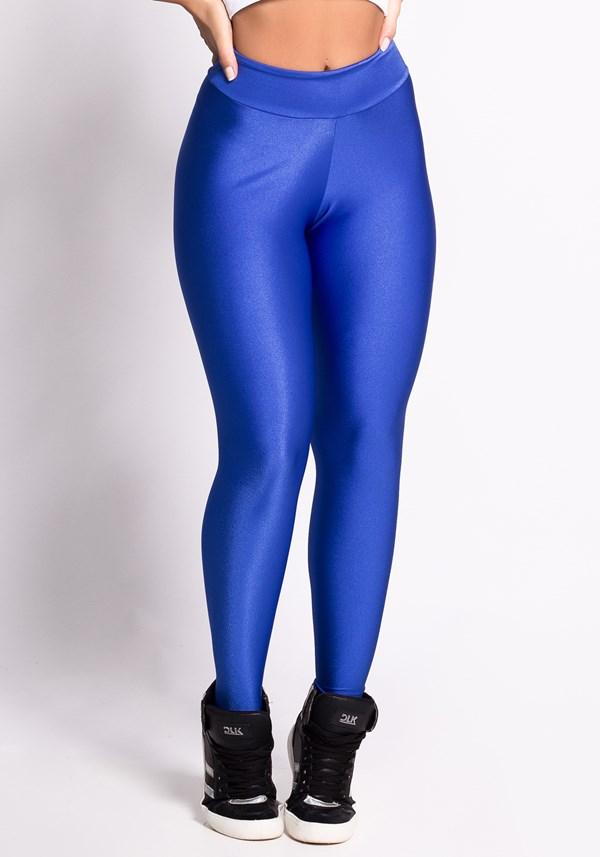Calça legging shine azul levanta bumbum