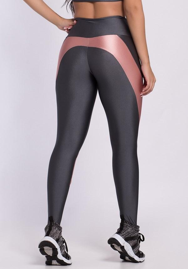 Calça legging shine cinza e rosê